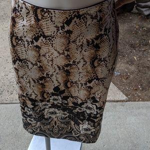 Python/Floral Print Skirt - WHBM - Size 10